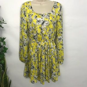 Forever 21 Shift dress Elastic Waist Floral Yellow